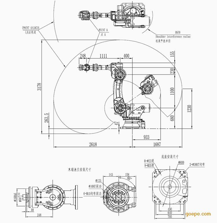 产品描述 BO-6-165机器人 轴数:6 有效负荷:165kg 距离范围:2618mm BO-6-165型6关节机器人结构紧凑,工作空间大,关节速度较高,动态响应快,具有加高的重复定位精度和轨迹跟踪精度,手腕持重能力强,采用总线架构,扩展应用方便,适用于机床上下料,搬运,喷涂等场合。