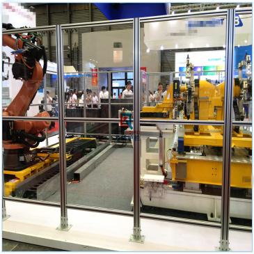 连云港工业设备铝合金护栏网工业铝材加有机玻璃防护栏龙桥生产