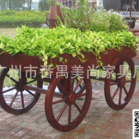 实木装饰花车、实木种植花槽、花箱、花架
