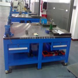 宏源鑫盛工厂生产工作台模具拆模修模铸铁承重桌 带虎钳工作台