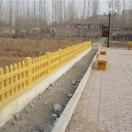 水泥仿腐木栅栏、树桩草坪、草坛护栏
