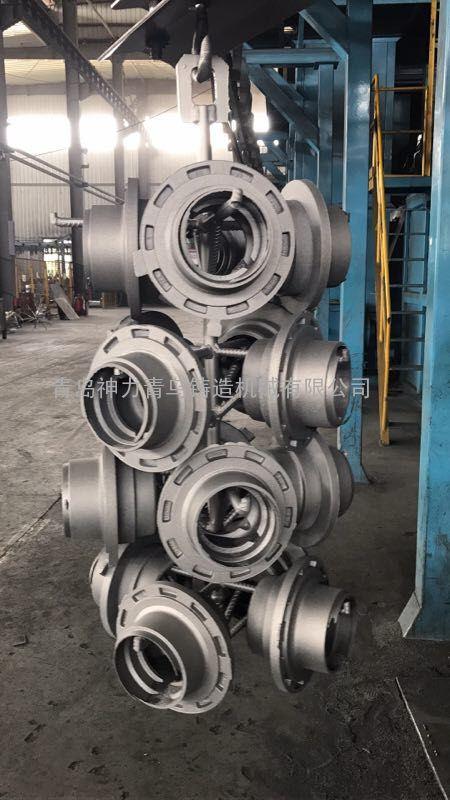 发动机壳汽车轮毂悬链式抛丸机