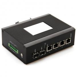 千兆2光3电5口手拉手串联级联工业级光纤收发器宽温卡轨式
