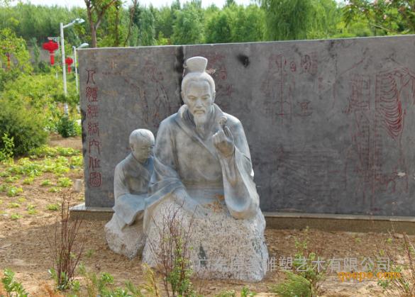 广东原著雕塑厂家纯手工制作石雕扁鹊行医雕塑公园主题雕塑摆件