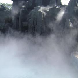 假山水池喷雾造景假山雾效景观水池水雾景观供应人造雾造景设备