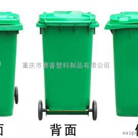 军绿色带轮垃圾桶,加厚挂车垃圾桶批发
