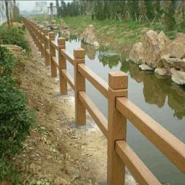 河道水泥仿木栏杆 混凝土围栏 水泥护栏