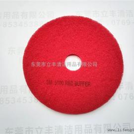 3M 5100 红色清洁垫 17英寸5片/盒 红色百洁垫 洗地打磨片