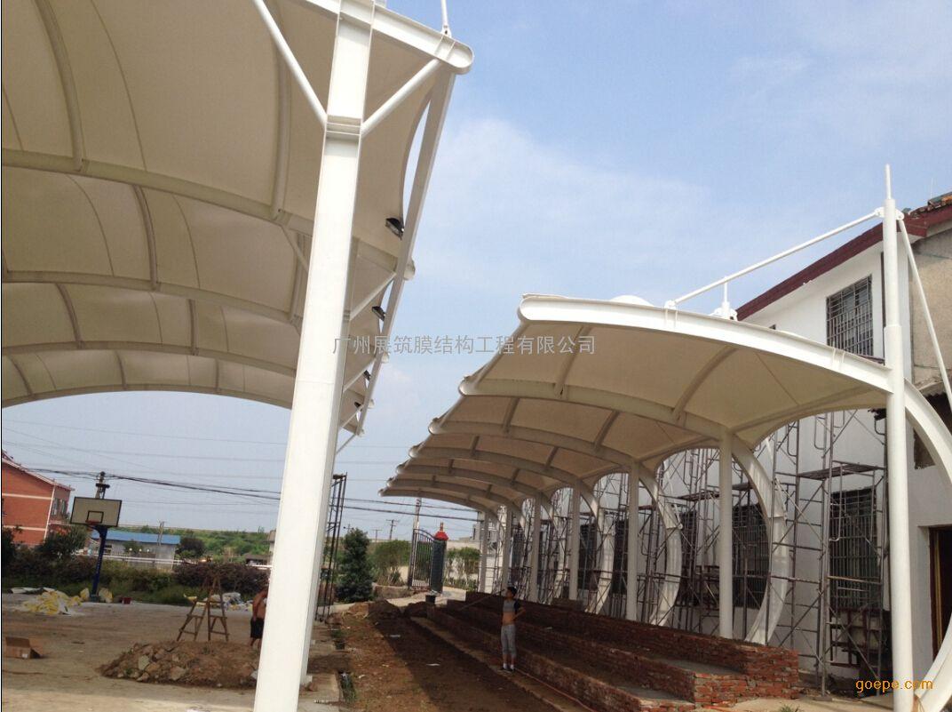 韶关膜结构雨棚,张拉膜遮阳棚,钢结构雨棚厂家公司