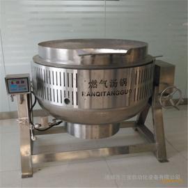 食堂专用熬煮锅 不锈钢燃气汤锅厂家 500;燃烧机夹层锅