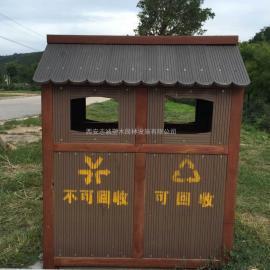 西安景区仿古垃圾桶 创意木制果皮箱厂家定制生产