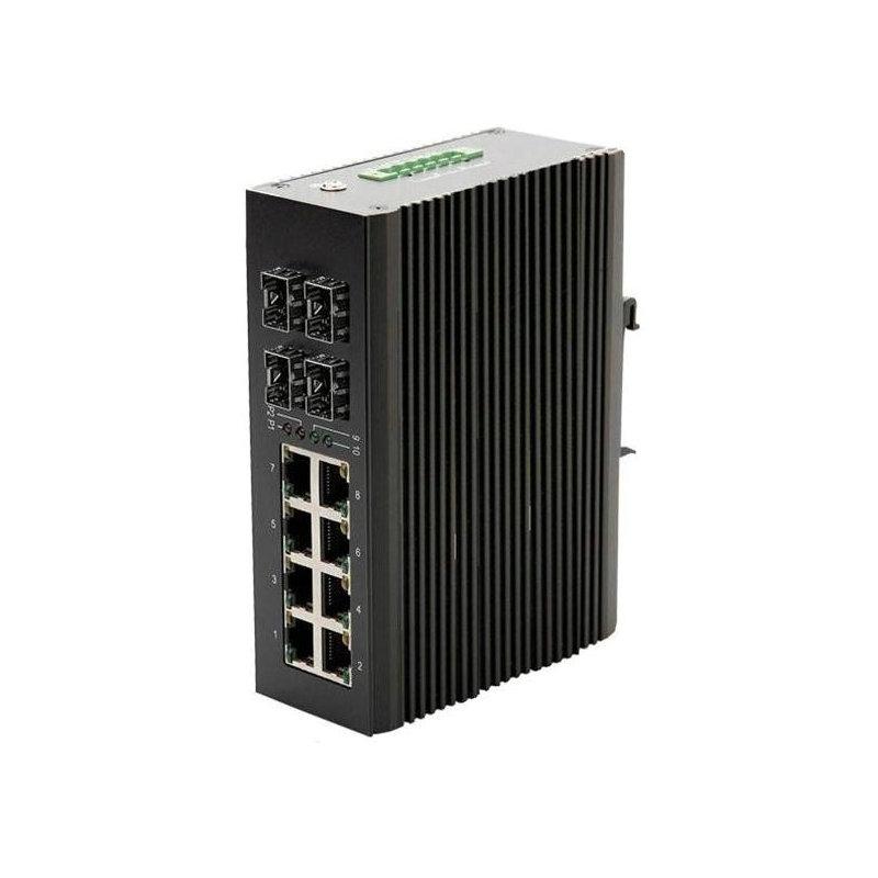 千兆4光8电工业级环网以太网交换机工业级光纤自愈环网交换机
