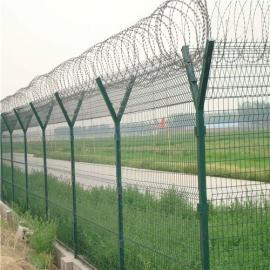 飞机场刀片刺丝绿色防护网工厂|机场围栏网|机场防爬网围栏