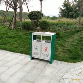 优质镀锌板冲孔果皮箱 户外双桶 垃圾桶厂家批发 环卫垃圾箱