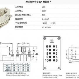 重载连接器 HDC-HE 6 10 16 24 32 48芯 防水工业热流道矩形插头