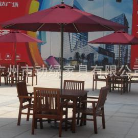 厂家直销户外实木家具/一桌四椅太阳伞组合