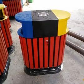 景区分类垃圾桶 城市道路果皮箱 青蓝QL8203三色钢木分类垃圾桶