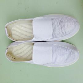 防静电白色帆布网面四眼鞋 无尘网面鞋 舒适透气无尘鞋