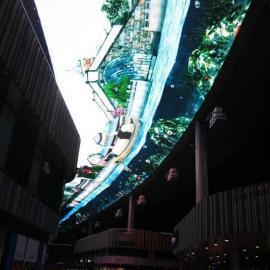 大堂天花板LED彩色天幕大屏安装厂家