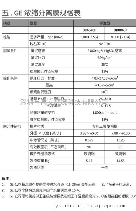 SUEZ纳滤膜DK8040F口服液制药厂物料分离膜DK8040F-30P