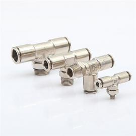 厂家直销金属快插接头三通螺纹旋转气管接头PB8-02正侧三通接头