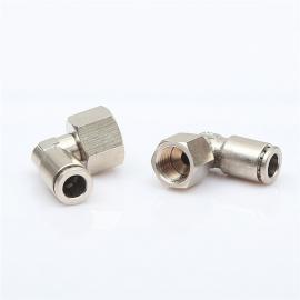 气动接头金属铜镀镍快插接头PLF8-03 10-04内螺纹直角旋转接头