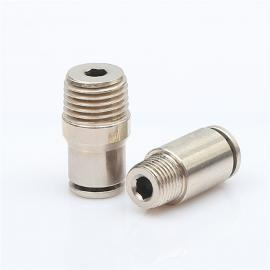 厂家批发金属铜镀镍快插接头HRF-A6-01圆柱内六角直通接头气接头