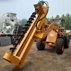厂家直销长螺旋电线杆钻孔机 电线杆挖坑机 装载机挖坑机现货