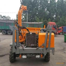 农用拉土车改装的带挖掘功能的四不像随车挖掘机