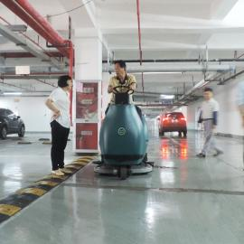运动场双刷大型洗地机食品车间用驾驶式洗地拖地车吸干机9600