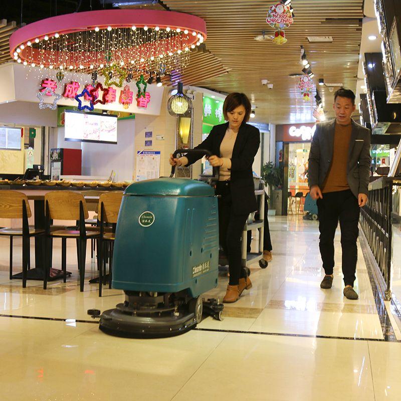 手推式洗地机洁乐美新北美食广场保洁拖地机超市大理石清洗机