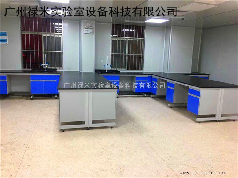 禄米实验室钢木实验台 钢木带空位实验台 钢木内凹满柜实验台