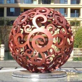 不锈钢仿铜球雕塑 花纹镂空球雕塑 不锈钢球雕塑