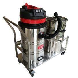 大容量双桶式强力工业吸尘器家具厂建筑工地用吸木屑粉末吸尘器