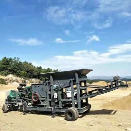 大型移动破碎鹅卵石破碎机全自动设备