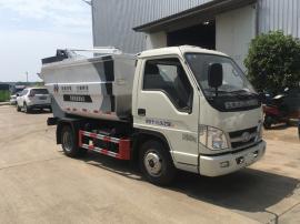 福田小型无泄漏压缩垃圾车 3方垃圾车 自装卸挂桶垃圾压缩转运车