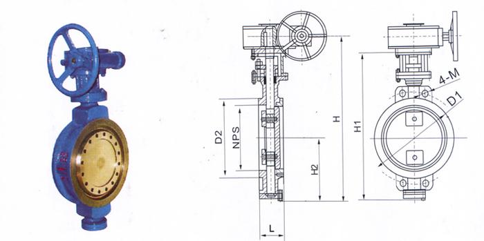 d373h多层次硬密封蝶阀 d41x手动螺旋式蝶阀 d71x对夹式衬胶软密封图片