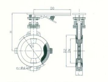 四,d71f46手动对夹式衬氟蝶阀连接尺寸图片