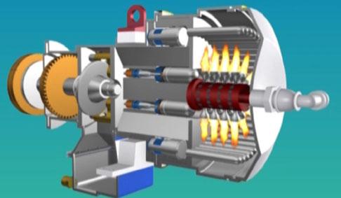 巨大的热量使斯特林发动机中的惰性气体受热膨胀