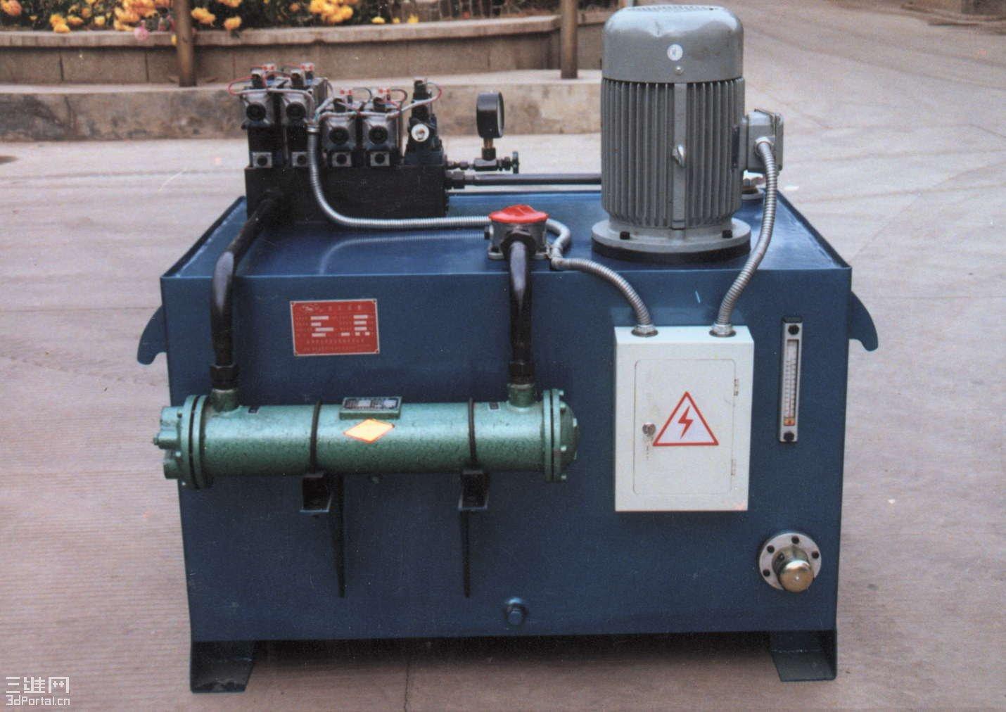 工作原理:电机带动油泵工作提供压力源,通过集成块,液压阀等对驱动图片