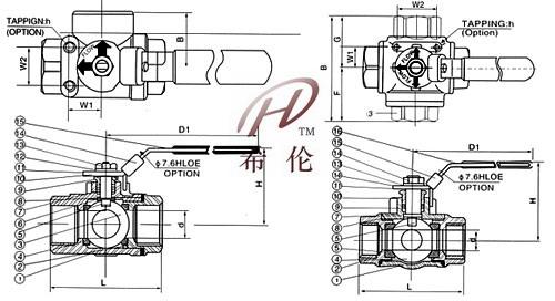 q15f内螺纹三通球阀结构尺寸图