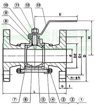 q41f三片式法兰球阀结构图
