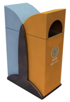 户外金属分类垃圾桶在城市小巷