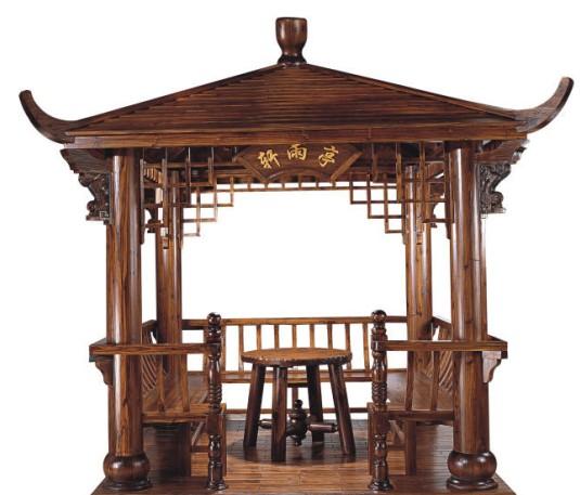 西安屋顶花园设计 西安防腐木凉亭制作
