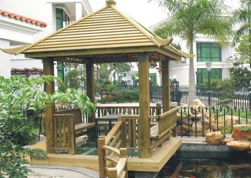 西安防腐木凉亭制作-西安新视野庭院装饰工程有限