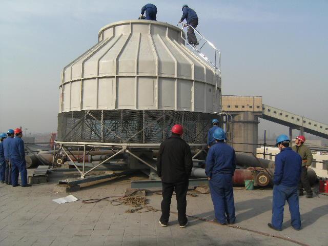圆形逆流式玻璃钢冷却塔采用逆流式气热交换技术,填料采用优质的改性
