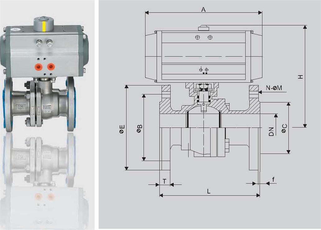 气动法兰球阀在管路中主要用来做切断速度快图片