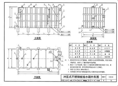 不锈钢水箱是有国家标准的,为中国建筑设计院发布的矩形给水箱设计