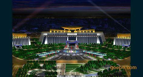 北部为行政广场,夜景照明设计效果重点体现恢弘大气