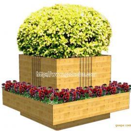 张家口实木花鼓,户外实木装饰花箱,实木花车花槽花架